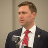 Matt Ballard, district attorney, talks about the charging of a suspect in the Freeman Bible murders during a press conference on Monday in Vinita.<br /> Globe | Roger Nomer