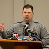 Craig County Sheriff Heath Winfrey talks about the arrest of a suspect in the Freeman Bible murders during a press conference on Monday in Vinita.<br /> Globe | Roger Nomer