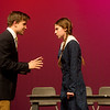 Corbin Chaffin, as Lucas, and Chloe Brower, as Wednesday, rehearse a scene from The Addams Family on Tuesday at Joplin High School.<br /> Globe | Roger Nomer