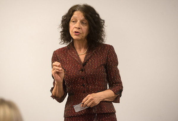 Kris Wade, executive director of the Justice Project of Kansas City, talks about her experiences with human trafficking during a presentation on Tuesday at Life Choices.<br /> Globe   Roger Nomer