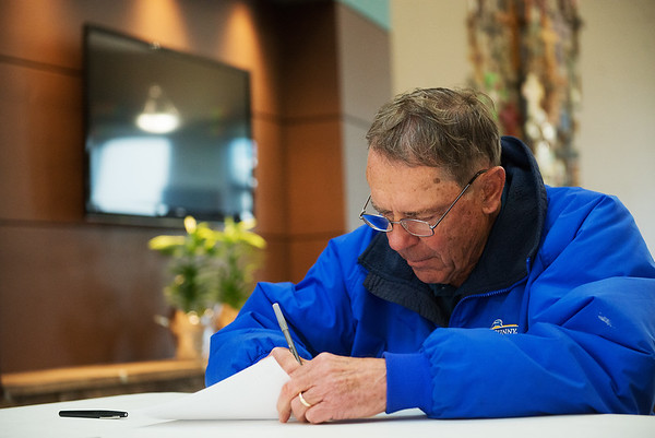 John Watson votes on Tuesday at St. Paul's United Methodist Church.<br /> Globe | Roger Nomer