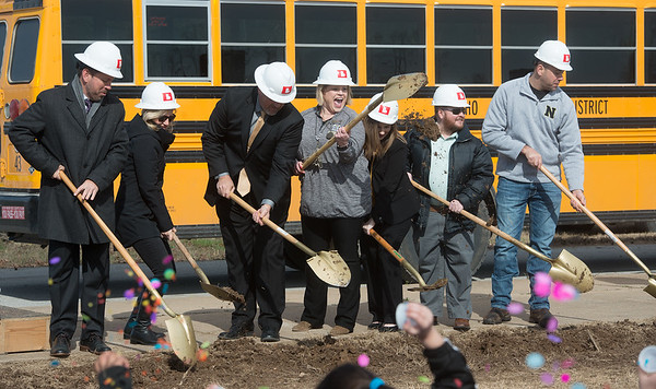 Ground is broken for the new Goodman Elementary School on Wednesday. Globe | Roger Nomer