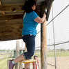 AT&T employee scrapes old paint from a post in the stands on Tuesday afternoon at the old Redden Field. The field is the last free-use ball field in Joplin and AT&T employees welcome members of the community to help restore the field on Saturday.<br /> Globe | Laurie Sisk