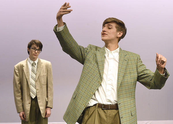 """From the left: Jakob Hubbs portrays Barnaby Tucker and Benjamin Belnap perfects his role as Cornelius Hackl during rehearsal for the Joplin High School production of  """"Hello Dolly!"""" on Wednesday at JHS.<br /> Globe   Laurie Sisk"""
