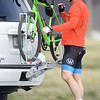 Cyclist Craig Chandler prepares for a ride on the Frisco-Greenway Trail near Zora Avenue on Tuesday afternoon.<br /> Globe | Laurie Sisk