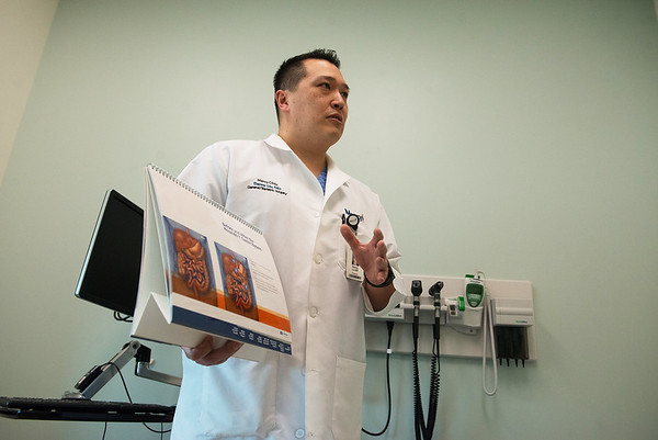 Danny Liu, bariatric doctor at Mercy Hospital, talks about bariatric surgery on Wednesday at the hospital.<br /> Globe | Roger Nomer
