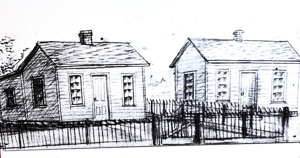 A sketch by George Washington Carver depicting the Neosho Colored School, right, and the Watkins House, left, is housed at the George Washington Carver National Monument. Carver stayed at the home of Andrew and Mariah Watkins while he attended the school.<br /> Globe | Laurie Sisk