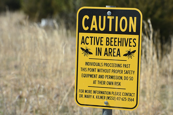 A caution sign in a field warns visitors of bee activity near the Missouri Southern bee colonies on Friday.<br /> Globe | Laurie Sisk