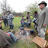 Civil War reenactors gather around the warmth of a fire during the Fourth Annual Hammer In event on Saturday in Newtonia. The event featured Civil War reeanactors, blacksmiths, tours and more during the day-long event.<br /> Globe | Laurie Sisk