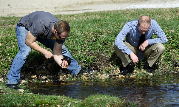 From the left: Missouri Southern student Cameron Priester and MSSU biology and environmental health instructor Kyle Gustafson look for snails at the MSSU biology pond on Wednesday afternoon. Snails from the pond are used as controls for experiments using liquified snails as tests for soil and water quality in mined areas.<br /> Globe | Laurie SIsk