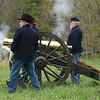 Members of the Wilson's Creek Artillery Crew demonstrate the use of a Civil War era cannon during the Fourth Annual Hammer In event on Saturday in Newtonia. The event featured Civil War reeanactors, blacksmiths, tours and more during the day long event.<br /> Globe | Laurie Sisk