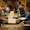 Area high school students practice proper buffet etiquette at Pittsburg State University on Wednesday.<br /> Globe | Roger Nomer