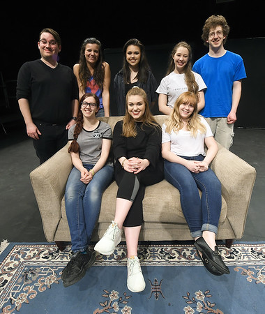 Missouri Southern student directors pose for a photo on Tuesday night at the Black Box Theatre. The group will present eight one act plays over three days. Front row, left to right: Bailee Lewis, Carly Ball and Allison Dodge. Back row: Austin Henady, Klaire Hardy, Kayley Baumhover, Chelsie Jeffries and Damon Fox.<br /> Globe | Laurie Sisk