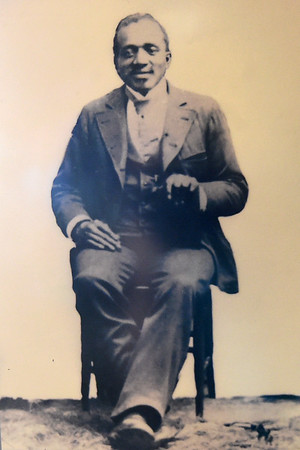 A photograph of Stephen Frost, George Washington Carver's teacher at the Neosho Colored School, is part of an educational exhibit of Carver's education at the George Washington Carver National Monument.<br /> Globe | Laurie Sisk