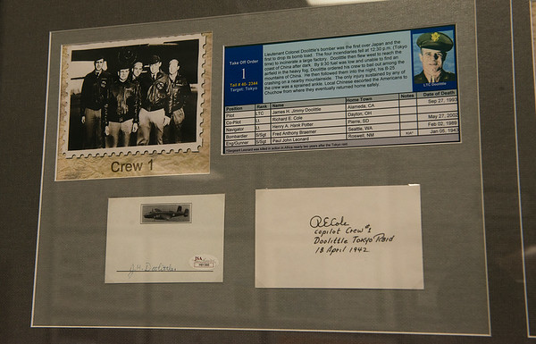The signature of James Doolittle is on display at Alpha Air Center on Tuesday.<br /> Globe | Roger Nomer