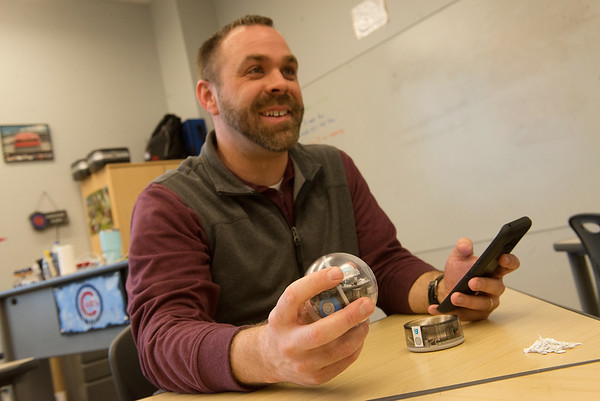 Joplin High teacher Brian Hancock is in the running for a grant to bring robots to his classroom.<br /> Globe | Roger Nomer