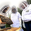 From the left: Missouri Southern biology professor Mary Kilmer, and MSSU biology students Maya Strick and Angelica Owrey check the staus of a bee colony on Friday at MSSU.<br /> Globe | Laurie Sisk
