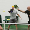Newt Sharp, left, and Shawn Tournear play a game of Pickleball at Millennium Family Fitness on Thursday.<br /> Globe | Roger Nomer