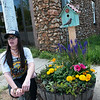Kelsey Channel talks about a planter she designed for downtown Granby during an interview on Thursday.<br /> Globe | Roger Nomer