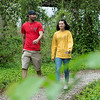 Cliff and Martina Lown walk along the Ruby Jack Trail in Carthage on Thursday.<br /> Globe | Roger Nomer