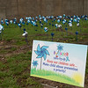 Blue pinwheels are part of a display about child abuse awareness at the Joplin Police Department.<br /> Globe | Roger Nomer