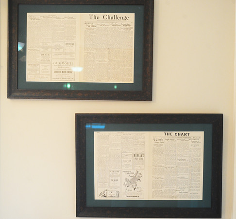 Globe/Roger Nomer<br /> Original copies of the first editions of Missouri Southern's campus newspapers The Challenge and The Chart.