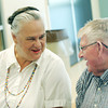 Globe/Roger Nomer<br /> Joyce Burwick chats with LaVerne Tucker over cards at the Carl Junction Senior Center on Tuesday afternoon.
