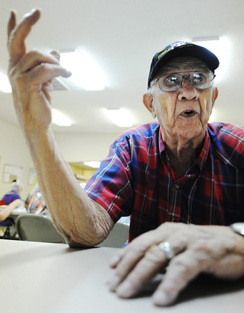 Globe/T. Rob Brown<br /> Homer Cole, of Pittsburg, Kan., talks about social security issues and the future of retirement Tuesday afternoon, Aug. 28, 2012, at the Pittsburg Community Center during a lunch for senior citizens.