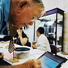 Globe/T. Rob Brown<br /> John Lewis, of Joplin, uses the Jasper County Voter Confirmation system via an iPad to sign up to vote Tuesday afternoon, Aug. 7, 2012, at the Donald Clark building polling location in Joplin.