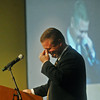 Globe/Roger Nomer<br /> Superintendent CJ Huff collects himself as he talks about his family's support as he speaks at Monday's rally.