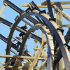 Globe/T. Rob Brown<br /> A construction worker with Rocky Mountain Construction Group of Idaho works on an inversion point in the track of the Outlaw Run wood rollercoaster Thursday morning, Aug. 9, 2012, at Silver Dollar City. The new coaster is being touted as the first wood coaster to feature a double barrel roll in addition to its record-breaking 81-degree steep drop and a projected top speed of 68 miles per hour.