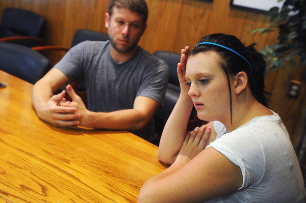 Globe/Roger Nomer<br /> Jade Roeder talks about her struggles with school following the May 22 tornado during an interview with director Jason Pollock on Friday.