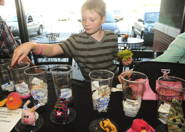 Globe/Roger Nomer<br /> Christopher Andrew, 10, puts in his entries for the Homes of Hope raffle at McAllister's Deli on Wednesday night.