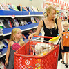 Globe/T. Rob Brown<br /> Sarah Vonder Haar, of Webb City, takes her children Brooke, left, and Drew shopping for school supplies Monday afternoon, Aug. 6, 2012, at Target in Joplin.