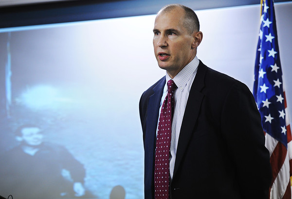 Globe/T. Rob Brown<br /> FBI Special Agent in Charge Michael Kaste speaks Monday afternoon, Aug. 6, 2012, at the Jasper County Sheriff's Department offices in rural Joplin about the investigation of the Monday morning fire at the Islamic Center of Joplin. The projected image behind Kaste is from a video feed of an attempted arson suspect from the July 4 arson attempt.