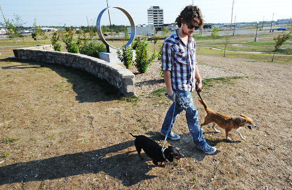 Globe/T. Rob Brown<br /> Tommy Coleman, of Joplin, walks Pirate, left, and Moksha in Cunningham Park Tuesday evening, Aug. 28, 2012.