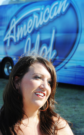 Globe/T. Rob Brown<br /> Melissa Smith, of Joplin, speaks following a successful American Idol audition at Landreth Park Wednesday morning, Aug. 22, 2012.