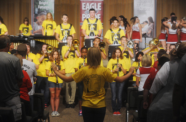 Globe/Roger Nomer<br /> The Joplin High School Marching Band performs at the beginning of Tuesday's Opening Day rally.