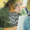 Globe/T. Rob Brown<br /> Freshman Kinsley Stewart uses a laptop during a biology class taught by LaHeather Fisher, Joplin High School science teacher, Thursday morning, Aug. 22, 2013, at the freshman and sophomore campus at Memorial.