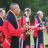 Globe/Roger Nomer<br /> Larry Hamilton, Seneca, dances in the gourd dance with the Wyandotte Honor Guard at the Shawna Stovall Children's Back-To-School Pow-Wow at the Eastern Shawnee Pow-Wow grounds on Aug. 17.