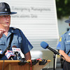 Globe/T. Rob Brown<br /> Missouri State Highway Patrol Sgt. Mike Watson addresses the media back at the search headquarters in downtown Golden City Wednesday afternoon, Aug. 21, 2013, after the girl's body was discovered in a field.