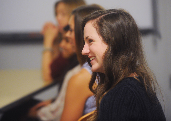 Globe/Roger Nomer<br /> Joplin High junior Tess Harmon listens to orientation during her first day of class at the Joplin High 11/12th grade campus on Thursday.