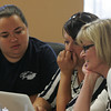 Globe/Roger Nomer<br /> (from left) Jamie Simkin, second grade teacher at Cecil Floyd, Nila Vance, principal at Irving Elementary, and Karen Secrist, principal at Stapleton Elementary, go over notes during a teacher's meeting at the Joplin Administration building on Thursday.