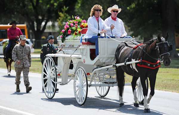 A horse-drawn funeral cart carries Adriaunna Horton's casket Wednesday afternoon, Aug. 28, 2013, following funeral services at Golden City High School.<br /> Globe | T. Rob Brown