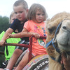 Globe/Roger Nomer<br /> (from left) Aryan McHaffie, 7, Blaze Atkinson, 4, and Braxton McHaffie, 4, Neosho, hang on for a camel ride at the Shawna Stovall Children's Back-To-School Pow-Wow at the Eastern Shawnee Pow-Wow grounds on Saturday afternoon.