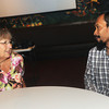 Globe/Roger Nomer<br /> Harriet Brower, Joplin, chats with Imam Lahmuddin before Saturday's multi-denominational Iftar dinner.