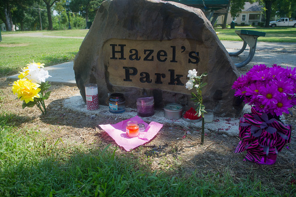 Globe/Roger Nomer <br /> A memorial for Adriaunna Horton has been placed in Hazel's Park in Golden City.