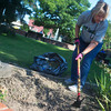 Globe/Roger Nomer<br /> Linda Wenger, Webb City, weeds a garden bed on Tuesday morning in Spiva Park.  Wenger is part of the Spiva Park Garden Club, which meets on Tuesday morning to care for the park.