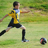 Globe/T. Rob Brown<br /> Jayden Green, 11, of Joplin, solo practices for his upcoming youth soccer season with the Joplin Family Y, on Saturday afternoon, Aug. 24, 2013, at the Joplin Athletic Complex.