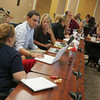 Globe/Roger Nomer<br /> Teachers and principals meet at the Joplin Administration building on Thursday afternoon.